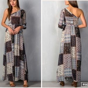 Fall Favorite Boho Floral Patch Maxi Dress